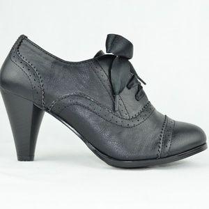 Women's Vintage Heeled Oxford Black